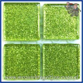 Glasmozaiek tegeltjes - Glitter - 2 x 2 cm - Enkele Kleuren - per 20 steentjes - Sour Lime