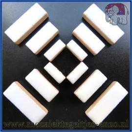 Keramische mozaiek steentjes - Keramiek Rectangles Rechthoekjes Normaal - 4, 6 en 10 mm - Enkele Kleuren - per 50 gram - White