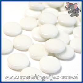 Glasmozaiek steentjes - Penny Rounds Normaal - 18 mm - Enkele Kleuren - per 50 gram - White Opal