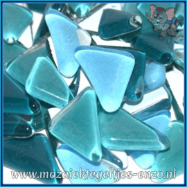 Glasmozaiek steentjes - Soft Glass Puzzles Normaal - Gemixte Kleuren - per 50 gram - Fernhead Teal