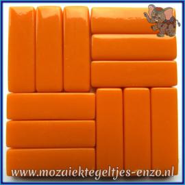 Glasmozaiek steentjes - Stix Rechthoekjes Staafjes XL Normaal - 12 x 38 mm - Enkele Kleuren - per 50 gram - Opal Orange