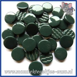Glasmozaiek steentjes - Penny Rounds Normaal - 18 mm - Enkele Kleuren - per 50 gram - Deep Green