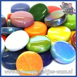 Glasmozaiek steentjes - Optic Drops Normaal en Parelmoer - 20 mm - Gemixte Kleuren - per 50 gram - Mixed Colours