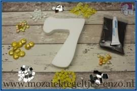Mozaiek Kant & Klaar Pakket Piepschuim Huisnummer Groot - Cijfer 7 Geel