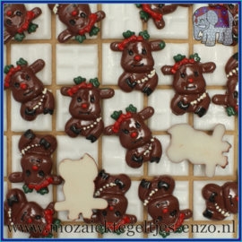Cabochon hars plaksteen - Kerst - Platte onderkant - Unlimited edition - per 1 stuk - Rendier donker bruin
