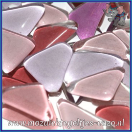 Glasmozaiek steentjes - Soft Glass Puzzles Normaal - Gemixte Kleuren - per 50 gram - Sweet Pea Pink