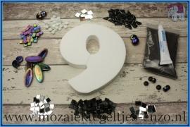 Mozaiek Kant & Klaar Pakket Piepschuim Huisnummer Groot - Cijfer 9 Zwart
