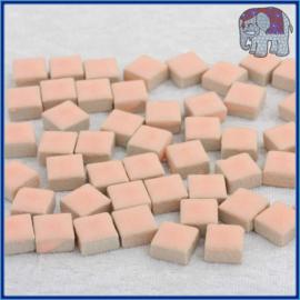 Geglazuurde Keramiek Stenen - 1 x 1 cm - Enkele Kleuren - per 60 steentjes - Fresh Peach