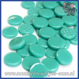 Glasmozaiek steentjes - Penny Rounds Normaal - 18 mm - Enkele Kleuren - per 50 gram - Teal