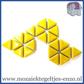 Keramische mozaiek steentjes - Triangles Driehoekjes Normaal - 15 mm - Enkele Kleuren - per 50 gram - Citrus Yellow