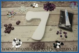 Mozaiek Kant & Klaar Pakket Piepschuim Huisnummer Groot - Cijfer 7 Paars