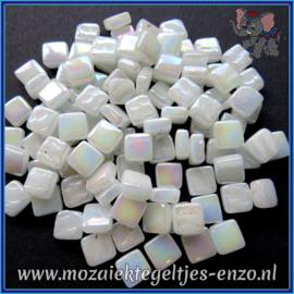 Glasmozaiek Pixel steentjes - Ottoman Parelmoer - 0,8 x 0,8 cm - Enkele Kleuren - per 50 gram - Broken White