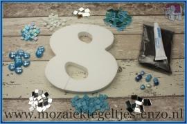 Mozaiek Kant & Klaar Pakket Piepschuim Huisnummer Groot - Cijfer 8 Blauw