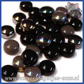 Glasmozaiek steentjes - Optic Drops Normaal en Parelmoer - 12 mm - Gemixte Kleuren - per 50 gram - Black Magic