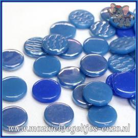 Glasmozaiek steentjes - Penny Rounds Normaal en Parelmoer - 18 mm - Gemixte Kleuren - per 50 gram - Caribbean Mist