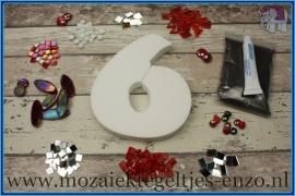 Mozaiek Kant & Klaar Pakket Piepschuim Huisnummer Groot - Cijfer 6 Rood