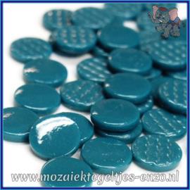 Glasmozaiek steentjes - Penny Rounds Normaal - 18 mm - Enkele Kleuren - per 50 gram - Deep Teal
