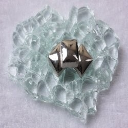 "- Keramiek  1 x 1 cm -  Silver-""S"""