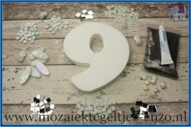 Mozaiek Kant & Klaar Pakket Piepschuim Huisnummer Groot - Cijfer 9 Wit
