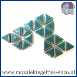 Keramische mozaiek steentjes - Triangles Driehoekjes Normaal - 15 mm - Enkele Kleuren - per 50 gram - Phthalo Green