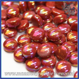 Glasmozaiek steentjes - Optic Drops Parelmoer - 12 mm - Enkele Kleuren - per 50 gram - Blood Red
