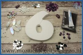 Mozaiek Kant & Klaar Pakket Piepschuim Huisnummer Groot - Cijfer 6 Paars