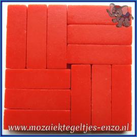 Glasmozaiek steentjes - Stix Rechthoekjes Staafjes XL Normaal - 12 x 38 mm - Enkele Kleuren - per 50 gram - Bright Red