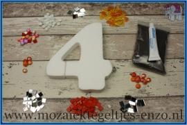 Mozaiek Kant & Klaar Pakket Piepschuim Huisnummer Groot - Cijfer 4 Oranje