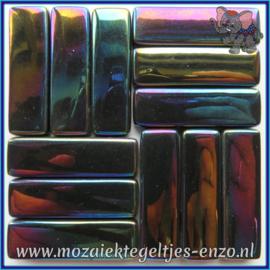 Glasmozaiek steentjes - Stix Rechthoekjes Staafjes XL Parelmoer - 12 x 38 mm - Enkele Kleuren - per 50 gram - Black