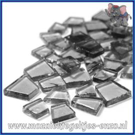 Glasmozaiek steentjes - Transparant Glass Puzzles Normaal - Enkele Kleuren - per 50 gram - Heavy Metal Grey