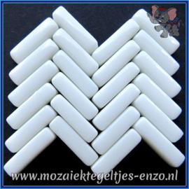 Glasmozaiek steentjes - Stix Rechthoekjes Staafjes Normaal - 6 x 20 mm - Enkele Kleuren - per 50 gram - Bright White