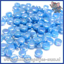 Glasmozaiek Pixel steentjes - Darling Dotz Parelmoer - 0,8 cm - Enkele Kleuren - per 50 gram - Lake Blue