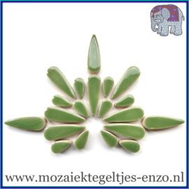 Keramische mozaiek steentjes - Keramiek Teardrops Druppels Normaal - 15 en 30 mm - Enkele Kleuren - per 50 gram - Jade