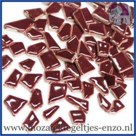 Keramische mozaiek steentjes - Keramiek Puzzel Stukjes Normaal - Enkele Kleuren - per 50 gram - Merlot
