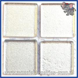 Glasmozaiek tegeltjes - Glitter - 2 x 2 cm - Enkele Kleuren - per 20 steentjes - Precious Metal Silver