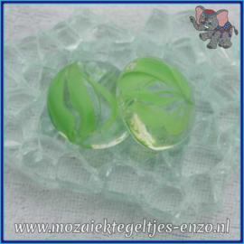 Glasmozaiek steentjes - Glasnuggets/Glasstenen Parelmoer - 18/22 mm - Enkele Kleuren - per 10 stuks - Eye Cat Green