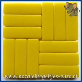Glasmozaiek steentjes - Stix Rechthoekjes Staafjes XL Normaal - 12 x 38 mm - Enkele Kleuren - per 50 gram - Opal Yellow