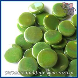 Glasmozaiek steentjes - Penny Rounds Parelmoer - 18 mm - Enkele Kleuren - per 50 gram - New Green