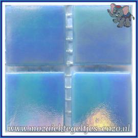Glasmozaiek tegeltjes - Parelmoer - 2 x 2 cm - Enkele Kleuren - per 20 steentjes - Blue Opal