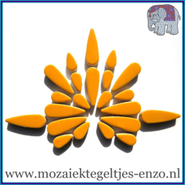 Keramische mozaiek steentjes - Keramiek Teardrops Druppels Normaal - 15 en 30 mm - Enkele Kleuren - per 50 gram - Curry