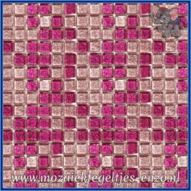 Glasmozaiek tegeltjes - Glitter - 1 x 1 cm - Gemixte Kleuren - per 60 steentjes - Mini Fuchsia Magic