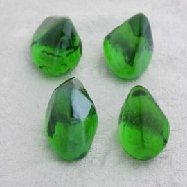 Glas Nuggets Figures 4 st - Rots Green Transparant