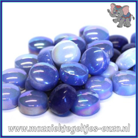 Glasmozaiek steentjes - Optic Drops Normaal en Parelmoer - 12 mm - Gemixte Kleuren - per 50 gram - Electric Blue