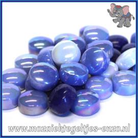 Glasmozaiek steentjes - Optic Drops Normaal en Parelmoer - 12 mm - Gemixte Kleuren - per 50 gram - Electric Blue