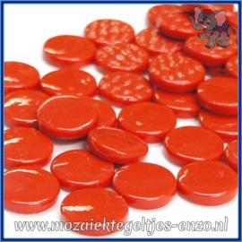 Glasmozaiek steentjes - Penny Rounds Normaal - 18 mm - Enkele Kleuren - per 50 gram - Bright Red
