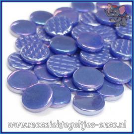 Glasmozaiek steentjes - Penny Rounds Parelmoer - 18 mm - Enkele Kleuren - per 50 gram - Warm Blue