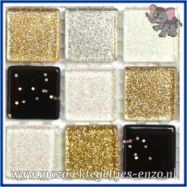Glasmozaiek tegeltjes - Glitter - 2 x 2 cm - Gemixte Kleuren - per 20 steentjes - Yin and Yang