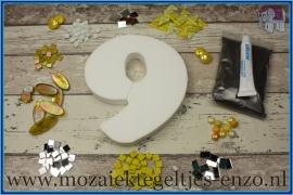 Mozaiek Kant & Klaar Pakket Piepschuim Huisnummer Groot - Cijfer 9 Geel