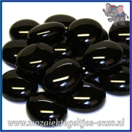 Glasmozaiek steentjes - Glasnuggets/Glasstenen Normaal - 18/22 mm - Enkele Kleuren - per 10 stuks - Black Marble