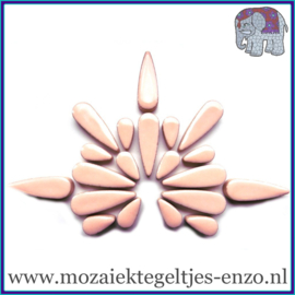 Keramische mozaiek steentjes - Keramiek Teardrops Druppels Normaal - 15 en 30 mm - Enkele Kleuren - per 50 gram - Sweet Pink